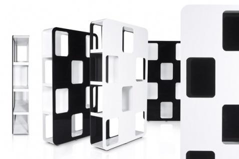 Designer Bücherregal aus lackiertem Holz Weiß/Schwarz Hochglanz Höhe: 207cm, Breite: 120cm, Tiefe: 30 cm, modernes Bücherregal - Vorschau 5