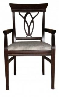 Casa Padrino Biedermeier Esszimmer Stuhl mit Armlehne Beige / Braun - Möbel Restaurant Hotel Gastronomie Bestuhlung