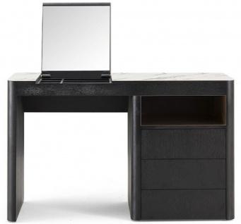 Casa Padrino Luxus Schminktisch mit 3 Schubladen und ausklappbarem Spiegel Schwarz / Weiß 120 x 50 x H. 76 cm - Luxus Badezimmer Möbel - Hotel Möbel