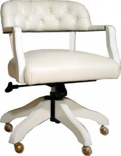 Casa Padrino Luxus Echtleder Büro Stuhl Weiß Drehstuhl Schreibtisch Stuhl - Chefsessel - Vorschau