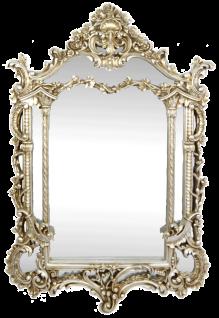 Casa Padrino Barock Spiegel Silber 85 x H. 125 cm - Prunkvoller handgefertigter Wandspiegel - Barock Möbel