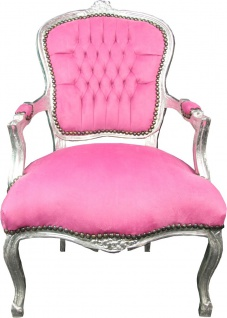 Casa Padrino Barock Salon Stuhl Rosa / Silber - Barock Antik Stil Möbel