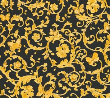 Versace Designer Barock Vliestapete Butterfly Barocco 343252 Schwarz / Gelb / Gold - Design Tapete - Luxus Qualität