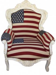 """Casa Padrino Barock Sessel """" King"""" USA Design/ Creme Möbel Antik Stil- USA Flagge"""