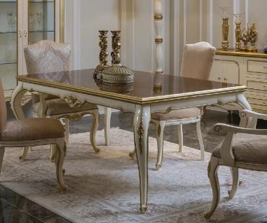 Casa Padrino Luxus Barock Esstisch Braun / Weiß / Gold - Handgefertigter Massivholz Küchentisch - Barock Esszimmer Möbel - Edel & Prunkvoll