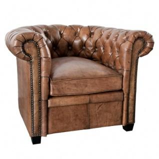 Casa Padrino Chesterfield Echtleder Sessel Braun aus Massivholz - Luxus Wohnzimmermöbel