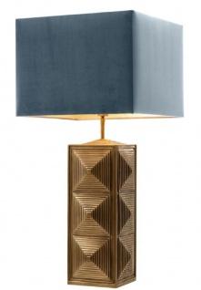 Casa Padrino Tischleuchte Vintage Messingfarben / Blau 40 x 40 x H. 84 cm - Luxus Tischlampe mit Lampenschirm
