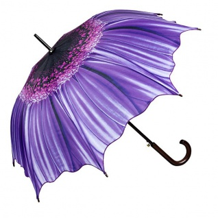 MySchirm Designer Regenschirm mit Blumenmotiv in lila - Eleganter Stockschirm - Luxus Design - Automatikschirm - Vorschau 1