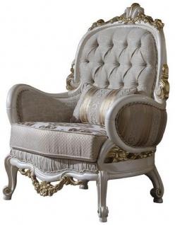 Casa Padrino Luxus Barock Sessel Grau / Weiß / Gold 80 x 85 x H. 120 cm - Prunkvoller Wohnzimmer Sessel mit dekorativem Kissen - Barock Möbel