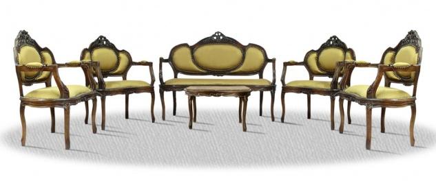 Casa Padrino Barock Salon Set mit Sitzbank 4 Stühlen und Tisch - Antik Stil Möbel