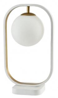 Casa Padrino Luxus Tischleuchte Weiß / Gold 23 x H. 39, 5 cm - Wohnzimmer Tischlampe