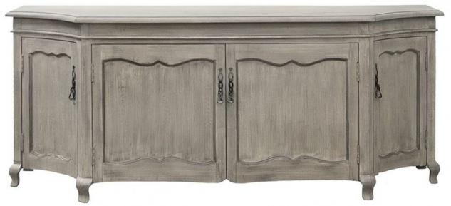 Casa Padrino Luxus Landhausstil Sideboard Grau 205 x 53 x H. 81 cm - Handgefertigter Massivholz Schrank mit 4 Türen - Landhausstil Möbel - Luxus Qualität