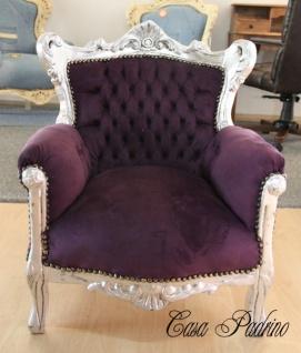 Casa Padrino Barock Kinder Sessel Lila/Silber - Kinderthron Thron Tron - Barock Stil Möbel