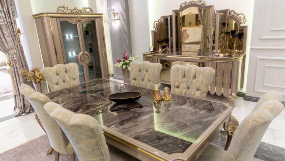 Casa Padrino Luxus Barock Esszimmer Set Grün / Gold / Grau - 1 Esstisch & 6 Esszimmerstühle - Prunkvolle Esszimmermöbel im Barockstil - Luxus Qualität - Vorschau 3