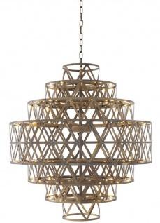 Casa Padrino Luxus LED Kronleuchter Antik Messing Ø 82 x H. 88, 5 cm - Runder Edelstahl Kronleuchter - Luxus Qualität