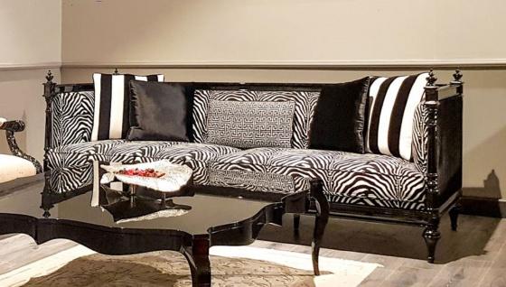 Casa Padrino Luxus Barock Sofa Zebra / Schwarz - Handgefertigtes Wohnzimmer Sofa im Barockstil - Edle Barock Wohnzimmer Möbel