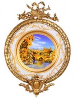Casa Padrino Barock Keramik Wandbild mit verziertem Rahmen Mehrfarbig / Weiß / Gold 28 cm - Barock Wanddeko