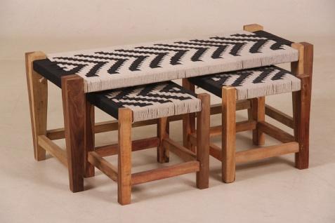 Casa Padrino Designer Sitzbank mit 2 Hocker 99 x 42 x 42cm Schwarz / Weiss / Natur