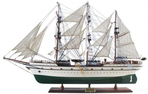 Casa Padrino Luxus Segelschiff Gorch Fock mit Massivholz Ständer Weiß / Grün / Braun 95 x 25 x H. 75 cm - Handgefertigtes Deko Schiff Holzschiff - Deko Accessoires