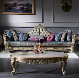 Casa Padrino Luxus Barock Wohnzimmer Set - 1 Chesterfield Sofa Dunkelblau / Antik Gold & 1 Couchtisch Weiß / Antik Gold - Wohnzimmermöbel - Barockmöbel