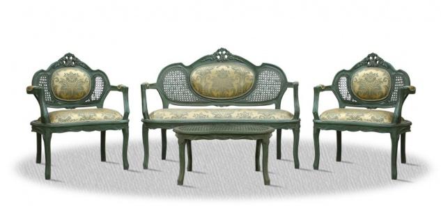 Casa Padrino Barock Salon Set mit Sitzbank 2 Stühlen und Tisch - Luxus Qualität