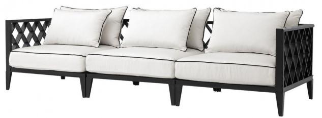 Casa Padrino Luxus Wohnzimmer Sofa mit Kissen Mattschwarz / Weiß 275, 5 x 93 x H. 69 cm - Wohnzimmermöbel