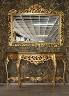 Riesige Casa Padrino Barock Spiegelkonsole Gold mit grüner Marmorplatte - Luxus Wohnzimmer Möbel Konsole mit Spiegel