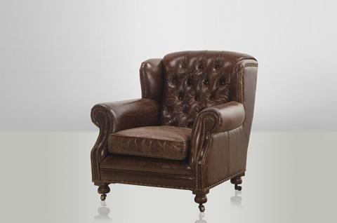 Chesterfield Luxus Echt Leder Ohrensessel Adringley Vintage Leder von Casa Padrino Cigar - Club Sessel