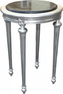 Casa Padrino Barock Beistelltisch Rund mit Marmorplatte Silber/Schwarz H 72 cm, B 49 cm Mod Y30 Antik Stil