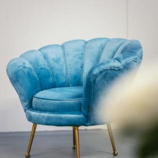 Casa Padrino Designer Samt Sessel Hellblau Messingfarben 96 X 79 X
