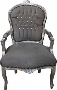 Casa Padrino Barock Salon Stuhl Grau / Silber mit Bling Bling Glitzersteinen - Möbel Antik Stil