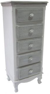 Casa Padrino Landhausstil Kommode mit 5 Schubladen Antik Weiß / Grau 40 x 30 x H. 96 cm - Möbel im Landhausstil