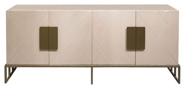 Casa Padrino Designer Sideboard Creme / Messing 200 x 40 x H. 80 cm - Wohnzimmer Keramik Schrank mit 4 Türen - Luxus Möbel