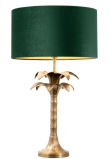 Casa Padrino Luxus Tischleuchte Vintage Messingfarben / Grün Ø 45 x H. 76 cm - Wohnzimmerlampe im Palmen Design