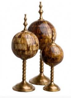 Casa Padrino Luxus Dekoration aus 3 kugelförmigen Skulpturen Büffelhorn Antik Braun / Messing - Hotel Einrichtung