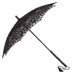 MySchirm Designer Dekoschirm Hochzeitsschirm mit schwarzer Baumwollspitze - romantischer Decoschirm