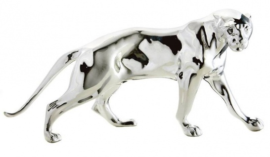 Luxus Panther Figur Silber Höhe 11 cm, Breite 26 cm, Tiefe 8 cm, edle Skulptur aus Kunststein, Edel & Prunkvoll