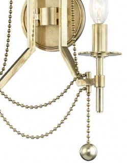 Casa Padrino Luxus Jugendstil Doppel Wandleuchte Antik Messingfarben 32, 4 x 17, 2 x H. 46, 4 cm - Wandlampe mit Metallperlen - Vorschau 2