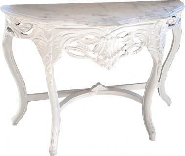 Casa Padrino Barock Konsolentisch Weiss mit weißer Marmorplatte - Konsole Möbel Antik Stil