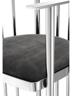 Casa Padrino Designer Stuhl mit Armlehnen Silber / Dunkelgrau 54, 5 x 53 x H. 68 cm - Designermöbel - Vorschau 5