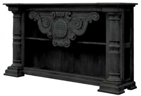 Casa Padrino Luxus Landhausstil Konsole Schwarz 170 x 40 x H. 100 cm - Handgefertigter Massivholz Konsolentisch - Edle Landhausstil Massivholz Möbel