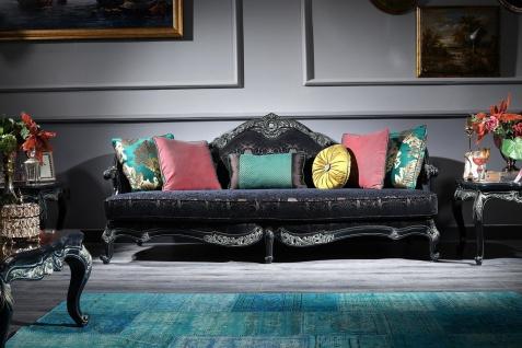 Casa Padrino Luxus Barock Sofa Schwarz / Grün / Gold 240 x 88 x H. 105 cm - Wohnzimmermöbel im Barockstil
