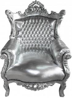 Casa Padrino Barock Sessel Al Capone Silber / Silber- Antik Stil