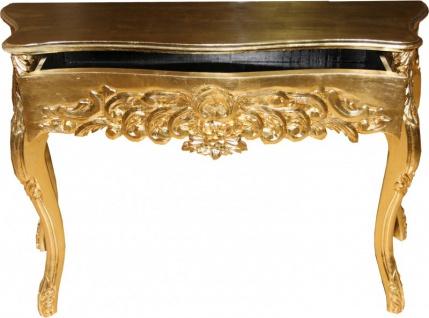 Casa Padrino Barock Konsolentisch Gold mit Schubladen Damen Schminktisch B 116 cm, H 77 cm - Antik Stil - Barock Möbel - Limited Edition - Vorschau 3