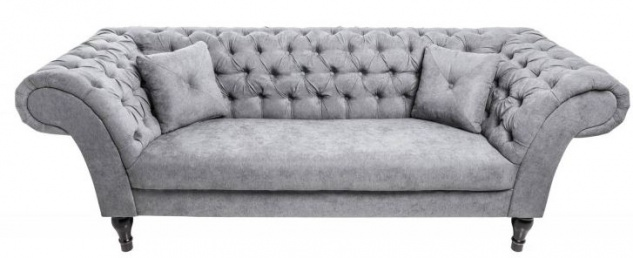 Casa Padrino Chesterfield Sofa in Grau 230 x 90 x H. 80 cm - Designer Chesterfield Sofa