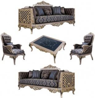 Casa Padrino Luxus Barock Wohnzimmer Set Blau / Silber / Gold - 2 Sofas & 2 Sessel & 1 Couchtisch - Prunkvolle Barock Wohnzimmer Möbel
