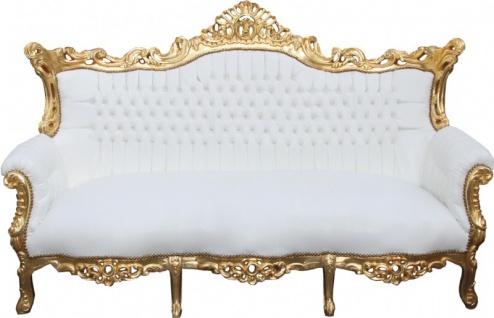 Casa Padrino Barock 3-er Sofa Master Weiss/Gold - Antik Möbel