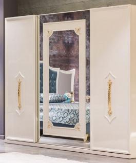 Casa Padrino Luxus Barock Schlafzimmerschrank Weiß / Gold - Massivholz Kleiderschrank - Barock Schlafzimmer Möbel - Edel & Prunkvoll
