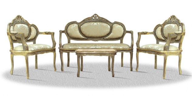 Casa Padrino Barock Salon Set Antik Gold - Luxus Antik Stil Wohnzimmermöbel