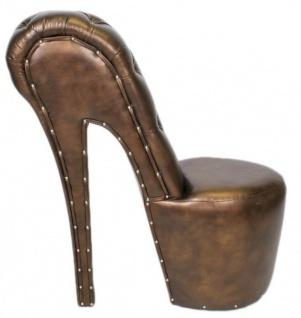 Casa Padrino High Heel Sessel mit Dekosteinen Bronze Luxus Design - Designer Sessel - Club Möbel - Schuh Stuhl Sessel